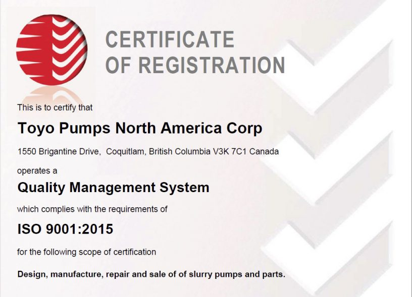 slurry pumps certificate of registration toyo pumps