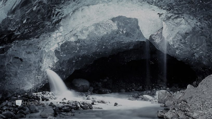 A mine filled with ice and water.