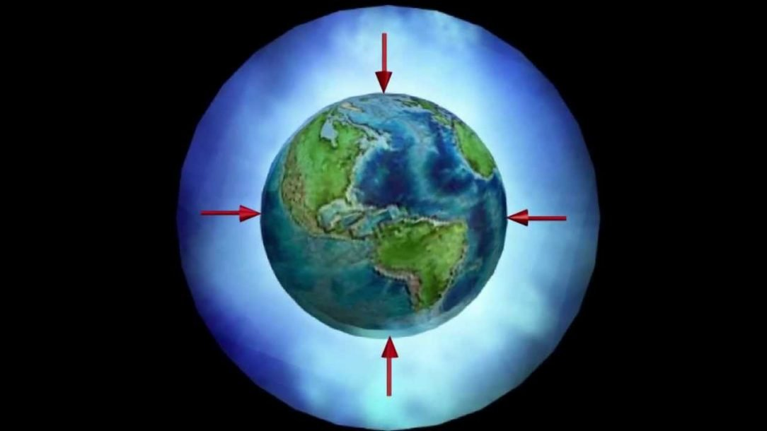 A image of earth and arrows demonstrating the direction of gravity.