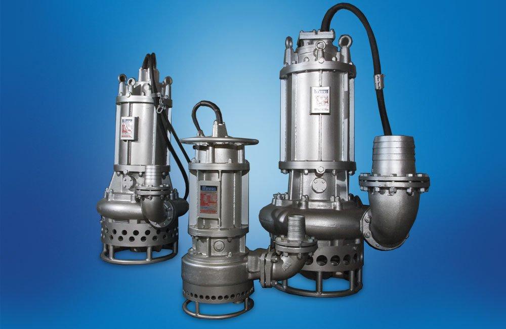 HNS Slurry pumps on a blue background.